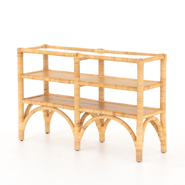 Auden Console Table-Wrapped Honey Rattan