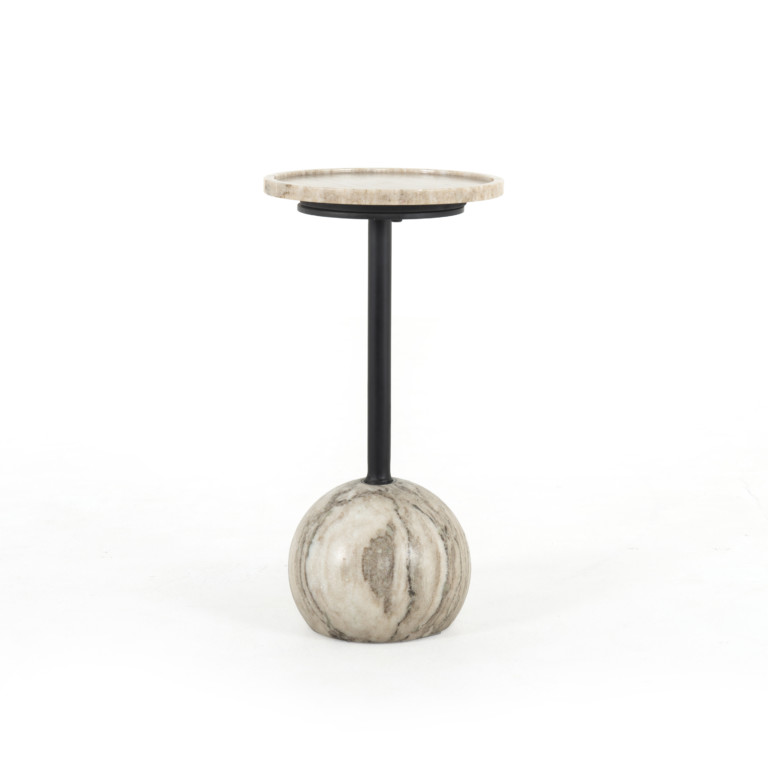 Viola Accent Table-Antique White Marble