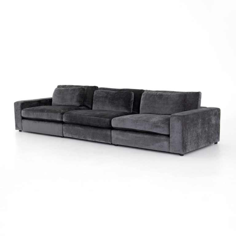 Bloor 3-Pc Sectional-Charcoal Worn Velve