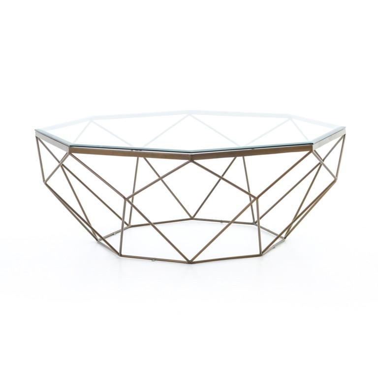 Geometric Coffee Table-Antique Brass